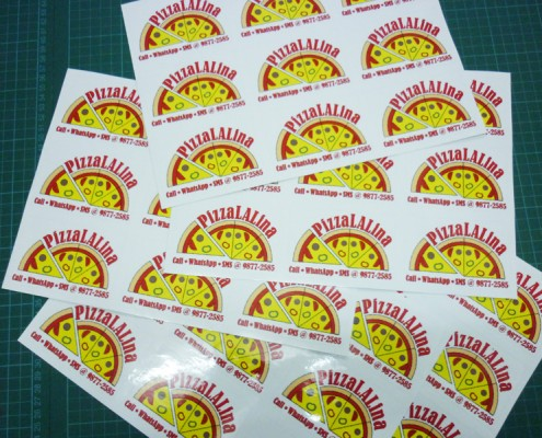 Sticker Printing with Die Cut Shape - Pizza Lalina