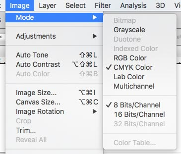 Change RGB to CMYK color mode
