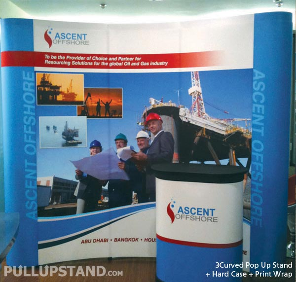 Pop Up Stand 3x3 (3 Curved) with Hardcase Countertop - Ascent
