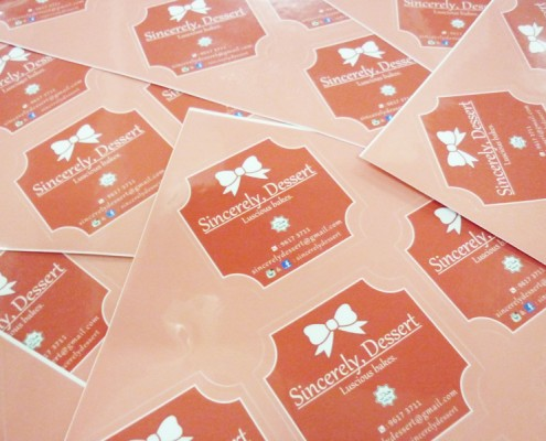 Sticker Printing with Die Cut Shape - Sincerely Dessert