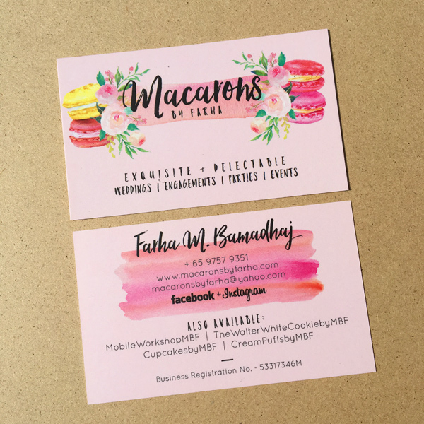 Macarons by Farha - Namecard Design and Printing by Pullupstand.com The Banner Stand People