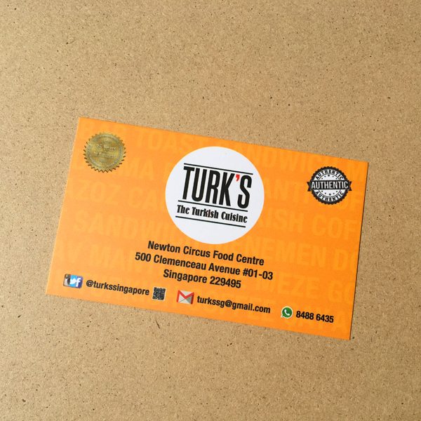 Turks Turkish Cuisine - Namecard Design and Printing by Pullupstand.com The Banner Stand People